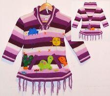 Peru PULLOVER KLEID: violett LILA weiss, Gr.92*98, XXL-Zipfelkapuze, Schildkröte