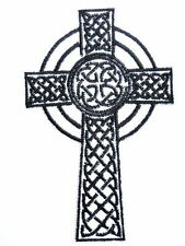 "CELTIC CROSS Pagan Embroidered Iron On Biker Jacket Vest Badge Patch 3.6""/9.5cm"