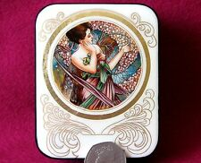Russian hand painted UNIQUE LACQUER trinket Box A. MUCHA The Months APRIL signed