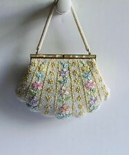 Lovely Vintage Clam Shell Design Floral Beaded Purse With Mother of Pearl Inlay