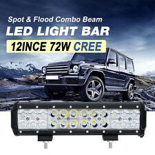 12inch 72W CREE LED LIGHT BAR SPOT& FLOOD WORK LAMP 4WD OFFROAD DRIVING BOAT 12V