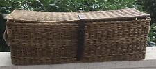 Rare Vintage Long French Wicker Basket Transported Military Equipment ~ Handles
