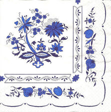 4 Single Paper Napkins for Decoupage Zwiebelmuster Blue Flowers