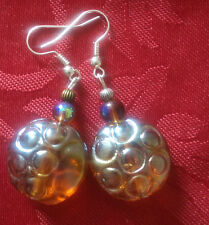 Lampwork drop dangle, silver plated earrings irridescent bronze 20mm, (180)