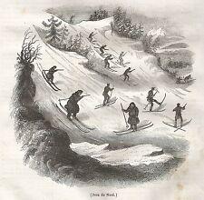A5377 Sciatori - Xilografia - Stampa Antica del 1842 - Engraving