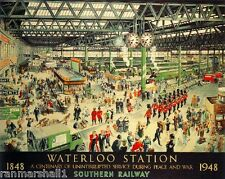 Waterloo Station Great Britain Vintage Travel Advertisement Poster Picture Print