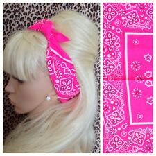 NEON BRIGHT PINK FLORAL PAISLEY COTTON BANDANA HEAD HAIR NECK SCARF RETRO PIN UP