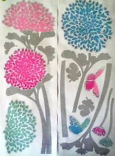 FLOWERS pink & blue wall stickers 14 decals garden stems foil butterfly nature