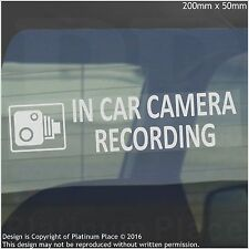 1 x In Car Camera Recording Warning Stickers-CCTV Sign-Van,Lorry,Taxi,Minicab