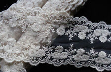 5 inch wide  flower embroidery lace trim  ivory color  selling by the yard