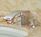 Waterfall Spout Bathroom Faucet Widespread Dual Handle Mixer Tap Chrome Finish