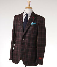 NWT $3995 ISAIA 'Gregory' Brown-Pink Check Cashmere-Silk Sport Coat 40 R (Eu 50)
