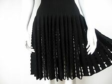 Alaia Black Knit Wool Sleeveless Fit & Flared Dress Punched Fringe FR36 UK8 S XS