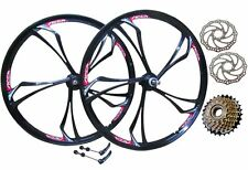 "26"" MTB Mountain Bike Magnesium Alloy Wheel Set + 6 Speed Shimano Freewheel"