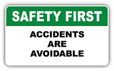 "Safety First Warning Sign Accidents Car Bumper Sticker Decal 6"" x 3"""
