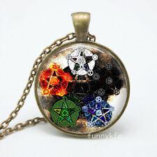 Vintage star Cabochon Bronze Glass Chain Pendant Necklace gt1#