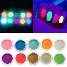10 Neon Colors Phosphorescent FLUORESCENT Powder Glow In Dark Nail Art DIY Craft