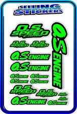 RC AIRCRAFT STICKERS HELI OS ENGINES CAR BUGGY O.S SPEED NITRO PIPE GREEN BLACK