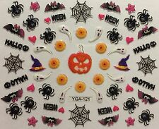 Nail Art 3D Decal Stickers Halloween Spider Bat Spiderweb Ghost Witch Hat YGA121