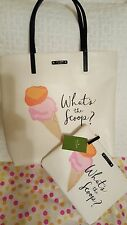 "Kate Spade What's the Scoop Ice Cream Tote Bag Bon Shopper & ""FREE"" Gia Pouch"