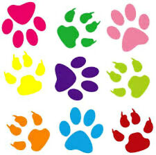 20 WATER SLIDE NAIL DECALS TRANSFERS color paw prints 1/8 inTrending