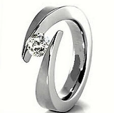 White BYPASS TITANIUM TENSION RING with 4.3mm Round CZ, size 9 - in Gift Box
