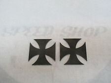 "2 Maltese Iron Cross RAW METAL, Chopper, Hot, Rat Rod, 3""x3"""