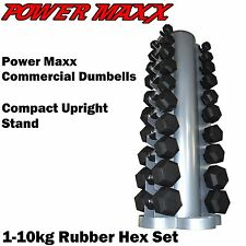 POWER MAXX Rubber Hex Dumbbell Set 1-10kg Rack Home Gym Weights Dumbell