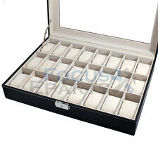 24 Grids Watch Box Glass Top Display Jewelry Organizer Storage Leather Case