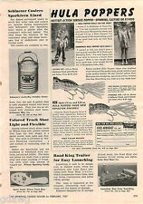 1957 ADVERT Fred Arbogast Hula Poppers Fishing Lure Lures Monterey Cruiser Boat