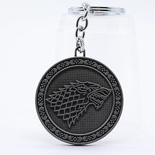 New Silver Color HBO Game of Thrones House Stark Head Metal Keyring Keychain