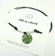 Green Sea shell anklet Mens ankle bracelet Adjustable leather beach anklet