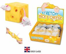 STRETCHY MICE & CHEESE Fiddle ADHD Autism Stress Relief Toy Kids Christmas Gift