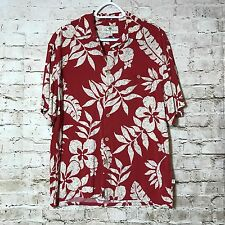 Island Shores Rayon Red Hawaii deck Camp shirt vacation Luau M Cruise