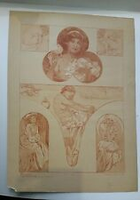 Alphonse MUCHA - Figures DECORATIVES - Lithographie ancienne en SanguineART DECO