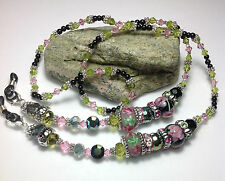 Handmade Stone Lampwork Eyeglass Necklace/Lanyard W/Swarovski Elements USA