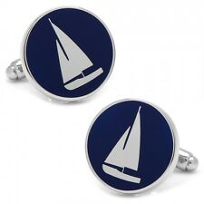 Silver and Ocean Blue Nautical Round Sail Boat Cuff Links Cufflinks Free Ship