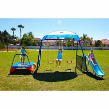 Outdoor Playset Playground Swingset Trampoline Slide Fun Kids Toy Children Gym