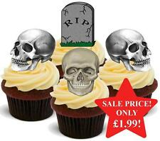 12 NOVELTY HALLOWEEN STAND UPS RIP Graveyard Skull Mix Edible Cake Toppers Dead