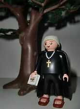 Rare Playmobil 3627 original black Monk with sandals, bible and cape