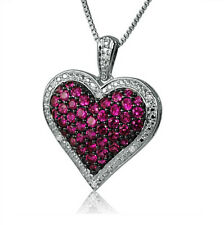 """1ct Created Ruby and Diamond Heart Pendant in Sterling Silver on an 18"""" Chain"""