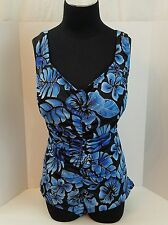 Women's Clothing Maxine One Piece Swimsuit 22W Plus Size Swimwear Floral Blue