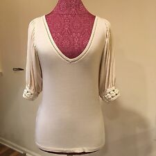 BCBG Girls Tan Crocheted V-neck Top Size small BcbGeneration