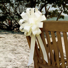 6 Ivory Pull Bows Wedding Pew Chair Church Party Shower Ceremony Decorations