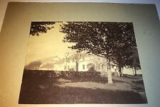 Antique American Architecture White Colonial House Stone Wall! Old Cabinet Photo