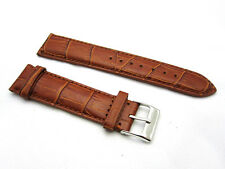 HNS 20MM HONEY BROWN GENUINE LEATHER CROCO GRAIN WATCH STRAP WITH BROWN LINE
