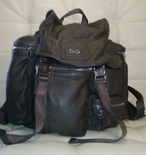 Dolce & Gabbana Khaki Military Green Leather Multi-Pocket Large Travel Backpack