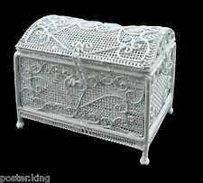 White Metal Wire Deluxe Jewellery Chest Box 1/12 Doll's Dollhouse Miniature