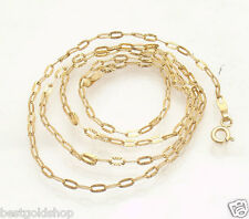 "20"" 2.5mm Italian Sunbeam Oval Link Chain Necklace Real 14K Yellow Gold 3.10gr"