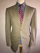 CROMBIE LUXURY DESIGNER SUIT PLAIN BEIGE CLASSIC FIT 44x38x32